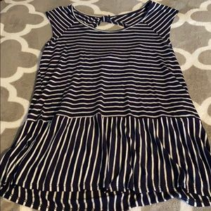 Maurices navy and white long top